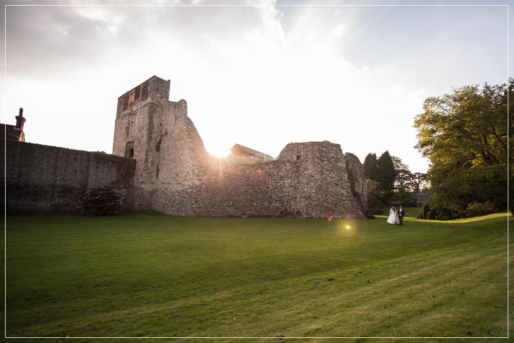 Farnham Castle Bride and Groom walking