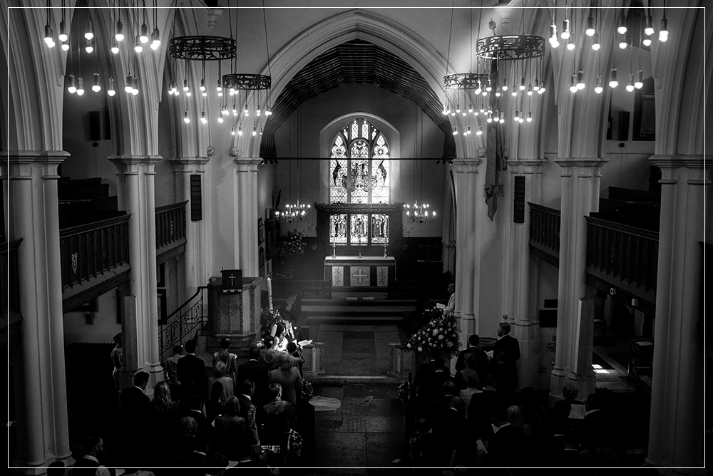 ray of light on couple in church